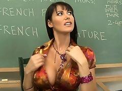 American, Big Tits, Blowjob, Classroom, College, Desk, Eva Karera, Hardcore, Licking, Lingerie,
