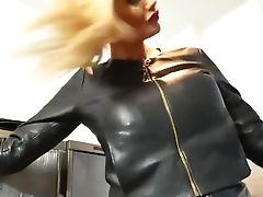 Big Tits, Blonde, Fetish, Leather, MILF, Solo, Teasing,