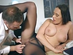 Big Tits, Blowjob, Boss, Cum On Tits, Cumshot, Desk, Fake Tits, Footjob, Hardcore, HD,