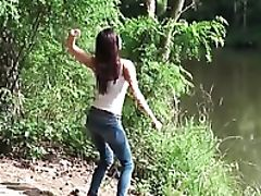 Babe, Big Tits, Cute, Jeans, Outdoor, Pissing,
