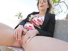 Big Tits, Blonde, Exhibitionist, Fake Tits, Fingering, Masturbation, MILF, Model, Public, Pussy,