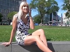 Blonde, Clit, Dick, Outdoor, Public, Skirt, Softcore, Solo, Upskirt,