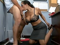 Big Tits, Blowjob, Brunette, Carmella Bing, Clothed Sex, College, Deepthroat, Glasses, Huge Tits, Legs,