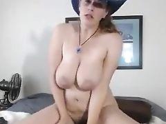 Große Natürliche Titten, Cowgirl, Milf,