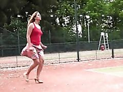 Golden Shower, High Heels, Pissing, Public, Skirt, Tennis, Upskirt,