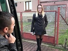 Blowjob, Boobless, Brunette, Car, Clothed Sex, Couple, Cowgirl, Cumshot, Fucking, Glasses,