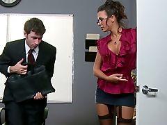 Boss, Brunette, Cute, Desk, Glasses, Hardcore, Lingerie, Long Legs, Mistress, Office,