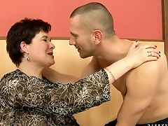 Blowjob, Brunette, Cute, Facial, Granny, Old And Young, Short Haired,
