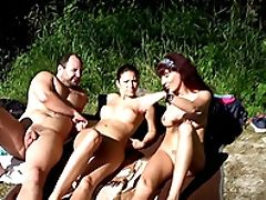 Bikini, Cum Swallowing, Cumshot, Cute, Forest, Group Sex, Hardcore, Orgy, Outdoor,