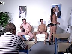 Cunnilingus, Glasses, Hardcore, Long Hair, MILF, Mmf, Pornstar, Threesome,
