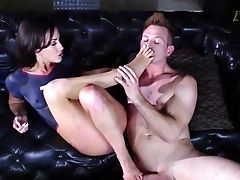 Brunette, Couch, Doggystyle, Footjob, Hardcore, HD, Jennifer White, Oral Sex, Pain, Riding,
