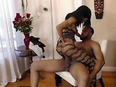 Black, Blowjob, Bodystocking, Cum On Tits, Cumshot, HD, High Heels, Hunk, Oral Sex, Riding,