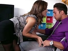 Babe, Blowjob, Brunette, Clothed Sex, Cute, Desk, From Behind, Hardcore, Kristina Rose, Office,