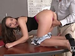Anal Sex, Ass, Ass Fingering, Bareback, Big Natural Tits, Brunette, Classroom, Couple, Doggystyle, Fingering,