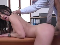 Blowjob, Boobless, Boss, Brunette, Cowgirl, Cum In Mouth, Cumshot, Deepthroat, Desk, Doggystyle,