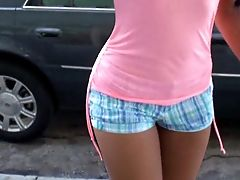 Amateur, Ass, Boobless, Brunette, Jade Jordan, Latina, Money, Outdoor, Pussy, Shorts,