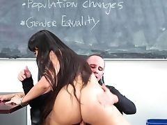 Big Ass, Big Cock, Big Tits, Blowjob, Brunette, Classroom, College, Cumshot, Desk, Facial,